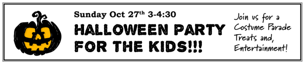 Halloween Party - Sunday, October 27th
